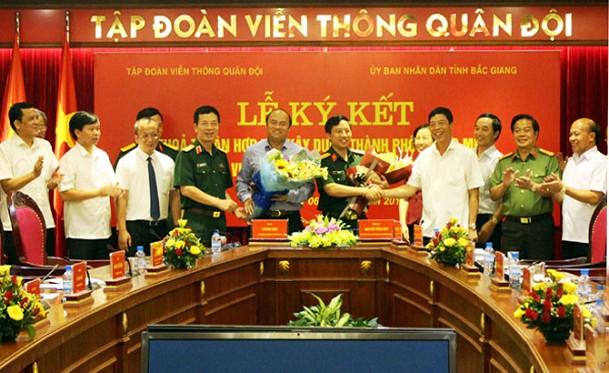 UBND tỉnh Bắc Giang và Tập đoàn Viễn thông Quân đội ký kết thỏa thuận hợp tác xây dựng TP thông minh